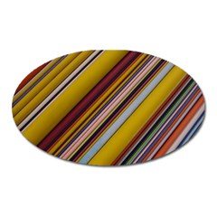 Colourful Lines Oval Magnet by Nexatart