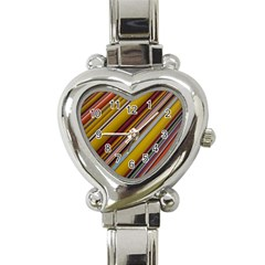 Colourful Lines Heart Italian Charm Watch by Nexatart
