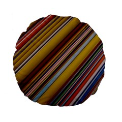 Colourful Lines Standard 15  Premium Flano Round Cushions by Nexatart
