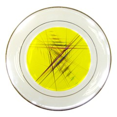 Fractal Color Parallel Lines On Gold Background Porcelain Plates by Nexatart