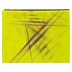 Fractal Color Parallel Lines On Gold Background Cosmetic Bag (xxxl)  by Nexatart
