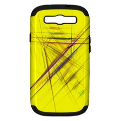Fractal Color Parallel Lines On Gold Background Samsung Galaxy S Iii Hardshell Case (pc+silicone) by Nexatart