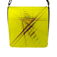 Fractal Color Parallel Lines On Gold Background Flap Messenger Bag (l)  by Nexatart