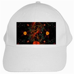 Fractal Wallpaper With Dancing Planets On Black Background White Cap by Nexatart