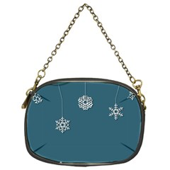 Blue Snowflakes Christmas Trees Chain Purses (one Side)  by Mariart