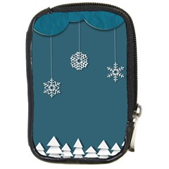 Blue Snowflakes Christmas Trees Compact Camera Cases by Mariart