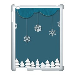 Blue Snowflakes Christmas Trees Apple Ipad 3/4 Case (white) by Mariart