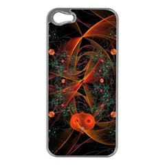 Fractal Wallpaper With Dancing Planets On Black Background Apple Iphone 5 Case (silver)