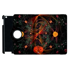 Fractal Wallpaper With Dancing Planets On Black Background Apple Ipad 2 Flip 360 Case by Nexatart