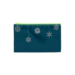 Blue Snowflakes Christmas Trees Cosmetic Bag (xs) by Mariart