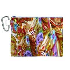3 Carousel Ride Horses Canvas Cosmetic Bag (xl) by Nexatart