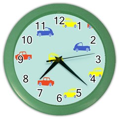 Car Yellow Blue Orange Color Wall Clocks by Mariart
