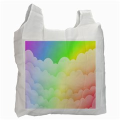 Cloud Blue Sky Rainbow Pink Yellow Green Red White Wave Recycle Bag (one Side) by Mariart
