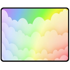 Cloud Blue Sky Rainbow Pink Yellow Green Red White Wave Fleece Blanket (medium)  by Mariart