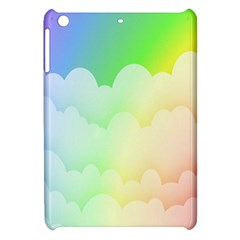 Cloud Blue Sky Rainbow Pink Yellow Green Red White Wave Apple Ipad Mini Hardshell Case by Mariart