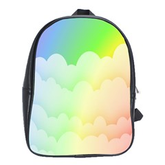 Cloud Blue Sky Rainbow Pink Yellow Green Red White Wave School Bags (xl)  by Mariart