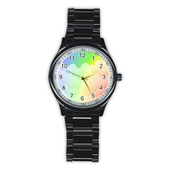 Cloud Blue Sky Rainbow Pink Yellow Green Red White Wave Stainless Steel Round Watch by Mariart