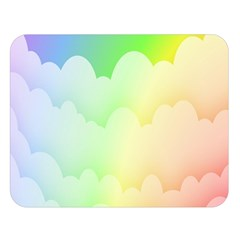 Cloud Blue Sky Rainbow Pink Yellow Green Red White Wave Double Sided Flano Blanket (large)  by Mariart