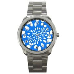 Circles Polka Dot Blue White Sport Metal Watch by Mariart