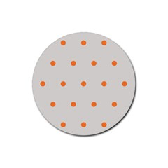 Diamond Polka Dot Grey Orange Circle Spot Rubber Round Coaster (4 Pack)  by Mariart
