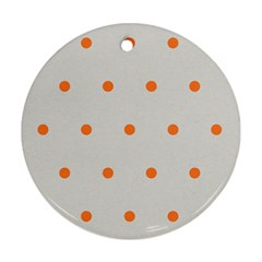 Diamond Polka Dot Grey Orange Circle Spot Round Ornament (two Sides) by Mariart