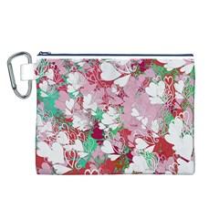 Confetti Hearts Digital Love Heart Background Pattern Canvas Cosmetic Bag (L)