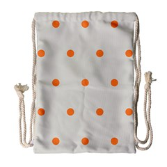 Diamond Polka Dot Grey Orange Circle Spot Drawstring Bag (large) by Mariart