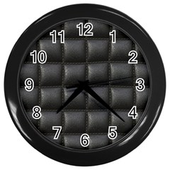 Black Cell Leather Retro Car Seat Textures Wall Clocks (black) by Nexatart