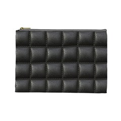 Black Cell Leather Retro Car Seat Textures Cosmetic Bag (large)  by Nexatart