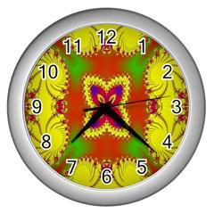 Digital Color Ornament Wall Clocks (silver)  by Nexatart