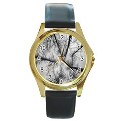 Trees Without Leaves Round Gold Metal Watch by Nexatart