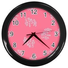 Branch Berries Seamless Red Grey Pink Wall Clocks (black) by Mariart