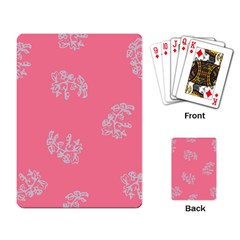 Branch Berries Seamless Red Grey Pink Playing Card by Mariart