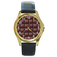 Red Cell Leather Retro Car Seat Textures Round Gold Metal Watch by Nexatart
