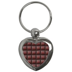 Red Cell Leather Retro Car Seat Textures Key Chains (heart)  by Nexatart