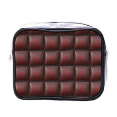 Red Cell Leather Retro Car Seat Textures Mini Toiletries Bags by Nexatart