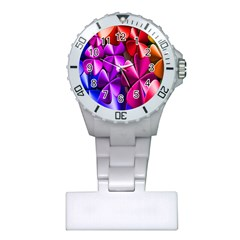 Colorful Flower Floral Rainbow Plastic Nurses Watch by Mariart