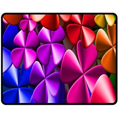 Colorful Flower Floral Rainbow Double Sided Fleece Blanket (medium)  by Mariart