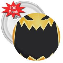 Halloween Pumpkin Orange Mask Face Sinister Eye Black 3  Buttons (100 Pack)  by Mariart