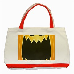 Halloween Pumpkin Orange Mask Face Sinister Eye Black Classic Tote Bag (Red) by Mariart