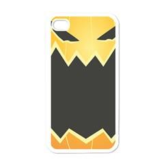 Halloween Pumpkin Orange Mask Face Sinister Eye Black Apple Iphone 4 Case (white) by Mariart