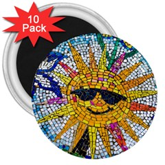 Sun From Mosaic Background 3  Magnets (10 Pack)  by Nexatart