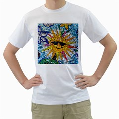 Sun From Mosaic Background Men s T Shirt (white) (two Sided)