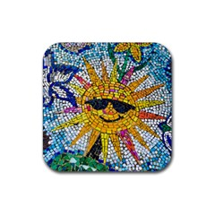 Sun From Mosaic Background Rubber Square Coaster (4 Pack)  by Nexatart