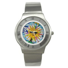 Sun From Mosaic Background Stainless Steel Watch by Nexatart