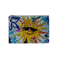 Sun From Mosaic Background Cosmetic Bag (medium)  by Nexatart