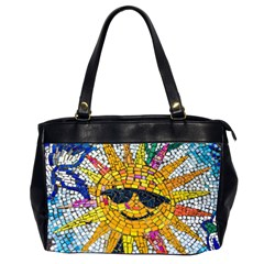 Sun From Mosaic Background Office Handbags (2 Sides)  by Nexatart