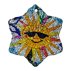 Sun From Mosaic Background Ornament (snowflake) by Nexatart