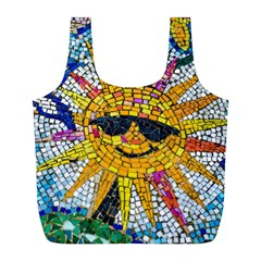 Sun From Mosaic Background Full Print Recycle Bags (l)  by Nexatart