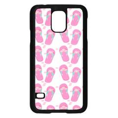 Flip Flops Flower Star Sakura Pink Samsung Galaxy S5 Case (black) by Mariart